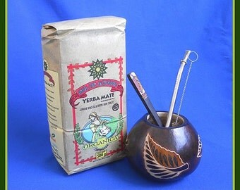 Leaves Mate Gourd, Organic Yerba, Bombilla, Spoon + Cleaner