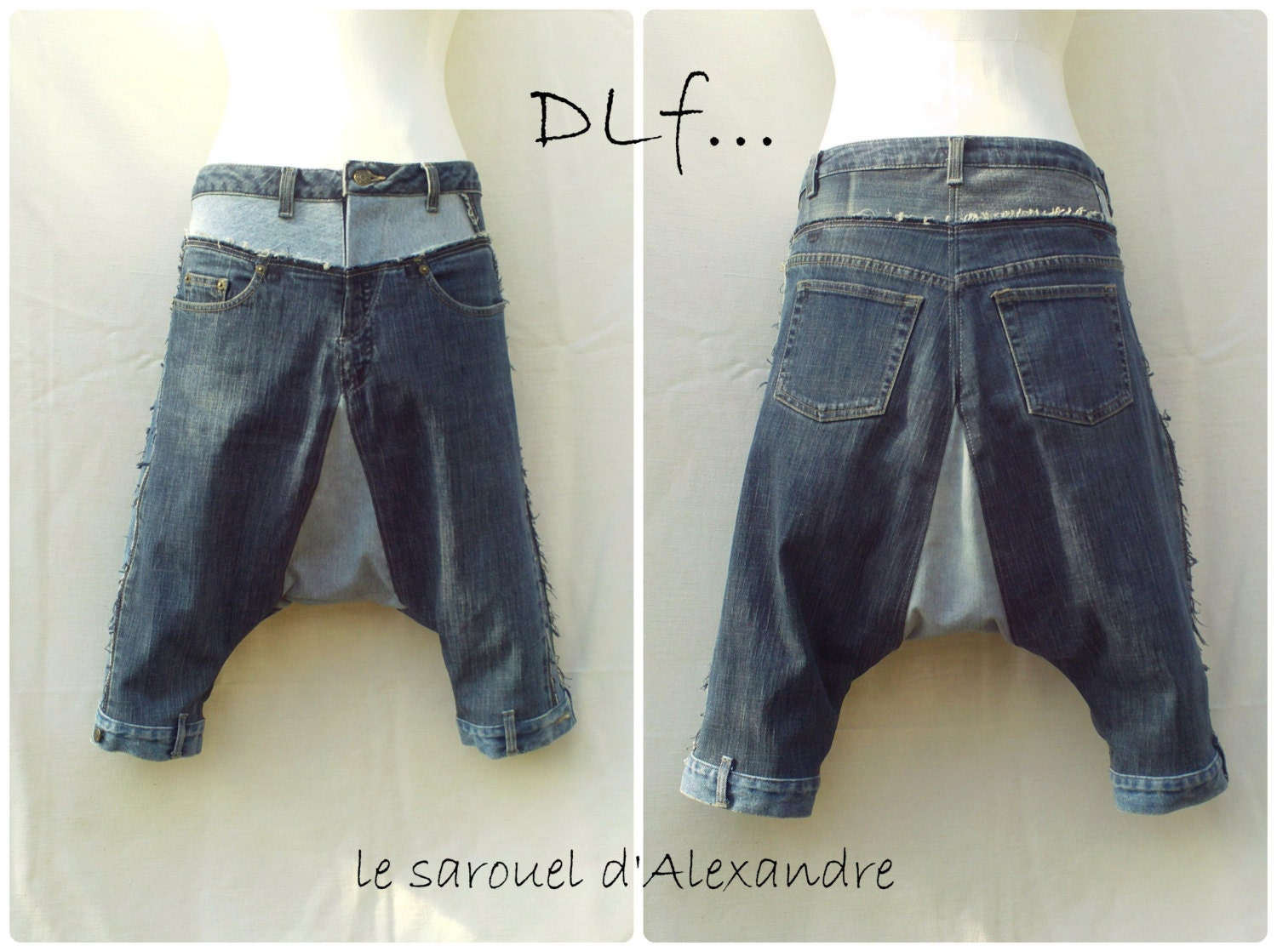 short harem pants in patchwork of recycled jeans by dlfine on etsy. Black Bedroom Furniture Sets. Home Design Ideas