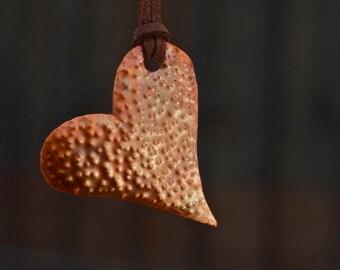 Copper jewelry Copper necklace Copper pendant Rustic copper Hammered copper Heart pendant Bohemian pendant Oxidized pendant Solid copper