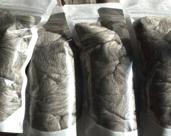 DE-STASH - 8 oz - Grey Merino wool roving.