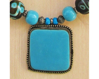 """Vintage Turquoise and Bone Necklace, Painted and Carved Bone Beads, Turquoise and Silver Colors, Chunky Big Necklace, 22"""""""