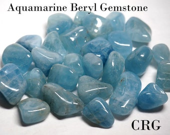 "AQUAMARINE (BLUE BERYL) Select Tumbled Gemstone / Polished Aquamarine / March Birthsone / Tumbled Aquamarine .75""-1.25"" Avg. Qty-1pc"