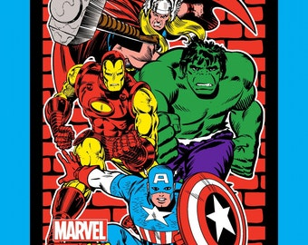Marvel Comics Retro Fabric Panel Large Comic Superheroes Avenger Fabrics