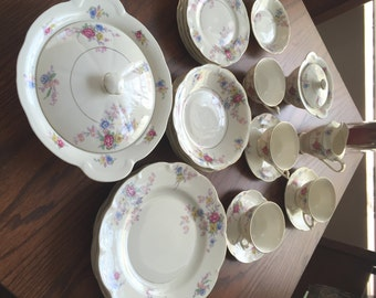 23 pieces of Vintage THEODORE HAVILAND, AVALON Pattern, New York, made in America China