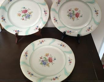 BAVARIA ELFENBEIN PORZELLAN  Three Vintage Floral Design Dinne Plates