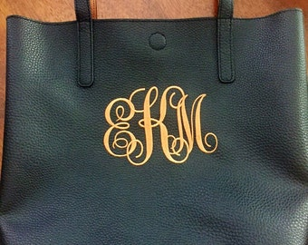 Monogrammed Tote Bag Embroidered Personalized Shoulder Bag Purse All Colors Available