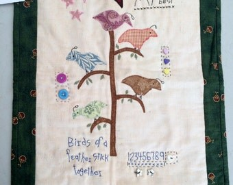 Birds of a Feather Patchwork Wall Hanging. New Quilt. Wall Decoration.