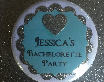 10 Bachelorette Party Buttons..Bridal Party..Bachelorette Party Favors..customize with Brides's name