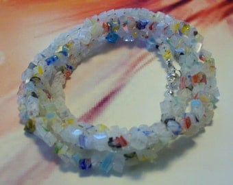 White Glass Millefiori Necklace/Bracelet/Anklet