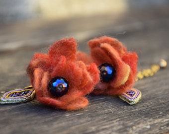 Felted Flower Earrings, Felted Orange Earrings With Soutache Leaf, Long Felted Earrings, Dangle Orange Earrings, Gift For Her, フェルトフラワーイヤリング