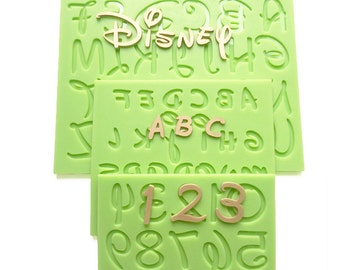 2016 New Disney Font Uppercase/Capital Lowercase Alphabet Letter Number Silicone Mold for Fondant Cake Decorating tools