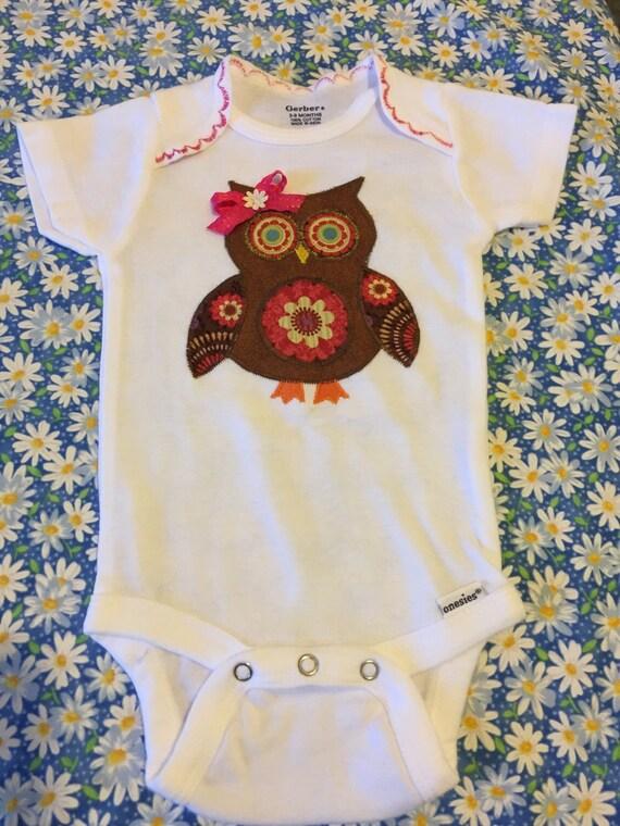 Fall owl appliqué onesie bodysuit for baby girl