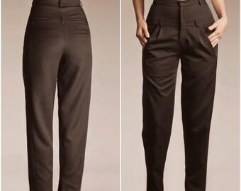 30% SALE, Black High Waisted Pants, Black Pants, High Waisted Pants, Boyfriend Pants, Pleated Pants, Womens Black Pants, Black Trousers