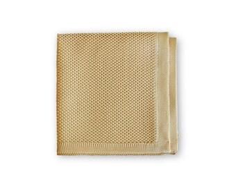Frederick Thomas Plain knitted Beige pocket square FT3173