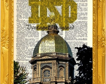 Notre Dame Fighting Irish Golden Dome dictionary art  print upcycled  vintage dictionary  page 8x10