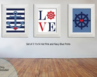 11x14 - Nautical Nursery Art Prints - Little boy nursery - Anchor and ship wheel - LOVE - Red and Navy Blue - Printable