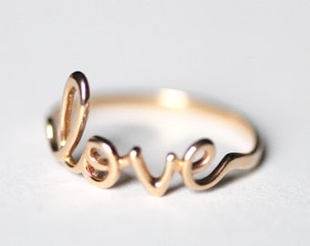 Love ring Ring with Love - Silver ring - Gold ring - Engagement ring - Gift idea