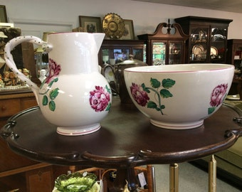 Tiffany Strasbourg large bowl and pitcher with Flowers