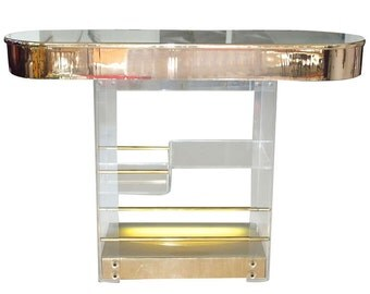 Vintage Brass and Lucite Free Standing Bar w/o barstools