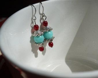 Aqua and Red Beaded Dangle Earrings