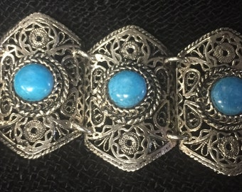 Sale! Beautifully Crafted Sterling & Turquoise Bracelet