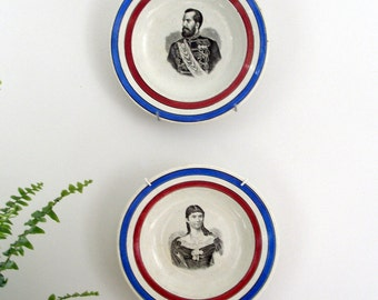 pair of german portrait plates antique german military uniform wall plates german couple victorian portrait
