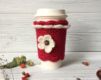 Red Coffee Cozy, Cable Knit Coffee Cozy, Tea Cozy, Cup Cozy, Coffee Cup Cozy, Crochet Cup Cozy, Coffee Sleeve