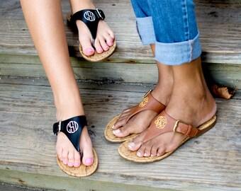Monogrammed Sandals, Brown Sandals, Black Sandals, Monogram Brown Sandals, Monogram Black Sandals, Natalie Sandal, Preppy Monogram Sandals