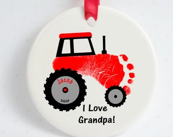 Tractor Baby Footprint Ornament with Decorative Ribbon, Using Actual Prints. Baby Tractor Ornament, Dad, Mom, Grandparents, Loved Ones,