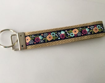 Key Chain / Wristlet Flower Bouquets Navy and Tan / CHARITY DONATIONS
