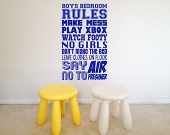 Boys Bedroom Rules, Xbox, PS4, Football, Fun,  Wall Art Vinyl Decal Sticker