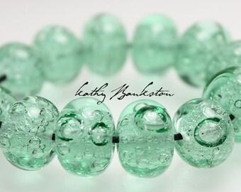 Soda Glass Bubble Beads, Bottle Colored Bubble Beads, Bottle Colored Lampwork Bubble Beads, Glass Bubble Beads, Green Beads, Kathy Bankston