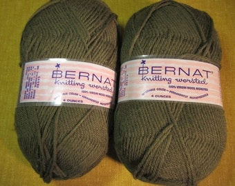 2 skeins Olive Bernat 100% virgin wool yarn 8 oz. worsted, knitting, crochet