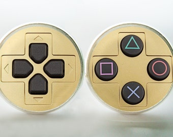Playstation Controller  Earrings (Silver or Bronze) video games  console Image under glass!