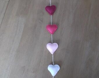 Felt cloud and hearts in pink mobile door hanger