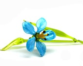 Blue Glass Hibiscus Flower, Glass Flower Hibiscus Glass handblown, Glass Flower,flower art glass, Hibiscus