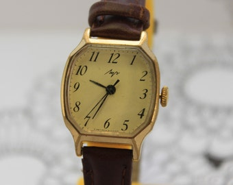 Vintage Russian Soviet watch Lush Gold Plate USSR