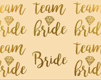 Ready to ship: Single Team Bride Gold Bachelorette Temporary tattoos, Bridal party tattoo, bridal flash tattoo, bachelorette tattoo