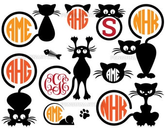 Black Cat SVG Monogram Frames Pack -  Kitten Cut Files for Vinyl Cutting Machines - Cricut, Silhouette, Graphtec