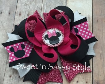 """Minnie Mouse Pink, Silver & Black 5"""" Stacked Boutique Hair Bow"""