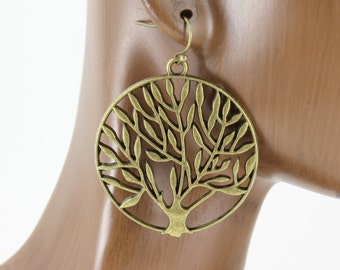 "Tree of Life earrings dangle earrings Antiqued Gold tone bronze color drop french hook 2"" long"