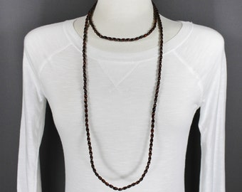 """Dark Brown wood bead super extra long beaded necklace 54"""" long double wrap strand"""