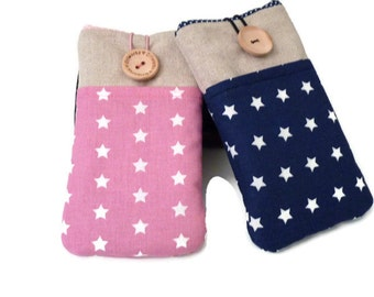 iPod Touch 6g Sleeve / iPod Touch 5g Pouch  / iPod classic case / Protective case iPod / Padded case iPod Touch - stars pockets