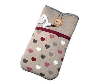 Padded Phone Case Lg G5 / LG V10 phone cover / Lg G4 case sleeve /  LG G3 pouch / LG G2 case -  Linen phone cover, Hearts pockets