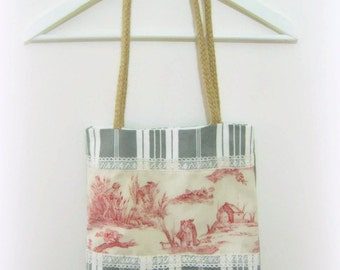 Bag jouy spirit in ticking, cotton and former linen.