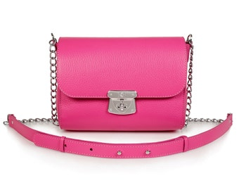 Leather Crossbody Bag, Fuchsia Leather Shoulder Bag, Women's Leather Cross body Bag, Leather bag KF-469