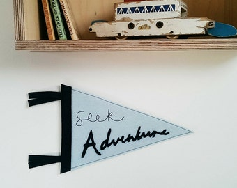 Wool Felt Pennant Banner/Pennant Flag/Wall Banner/Kids Room Decor/Seek Adventure