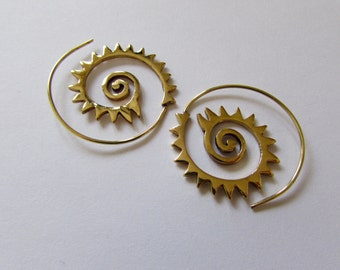 Zig Zag Spiral Brass Earrings,  handmade, Tribal Earrings, Earrings, Ethnic Inspired Jewelry, Free, Gift boxed, Free UK postage BG7