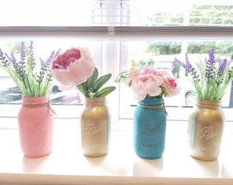 Hand painted 4x Ball Mason Jars 945ml - Perfect for Weddings/ Home Decor/Outdoor/Centrepieces/Parties/Flowers
