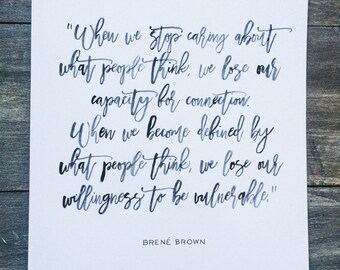 "8x10 ""Connection"" Brene Brown Quote"